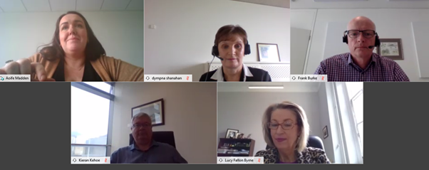 Screenshot of participants at the Webex webinar including Aoife Madden, Dympna Shanahan, Frank Burke, Kieran Kehoe and Lucy Fallon-Byrne