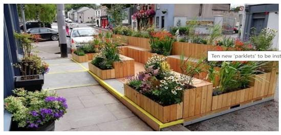 Photo of 'parklets' with benches, flowers and plants to be installed in a Cork City street