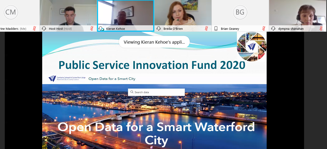Slide showing the new 'Open Data for a Smart Waterford City' site. The banner reads 'Public Service Innovation Fund 2020'