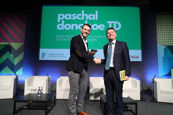 Paschal Donohue and Aidan McCullen on stage