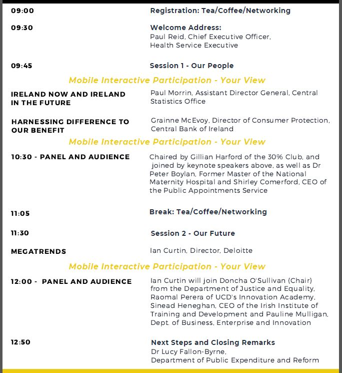 Agenda for 30th October event