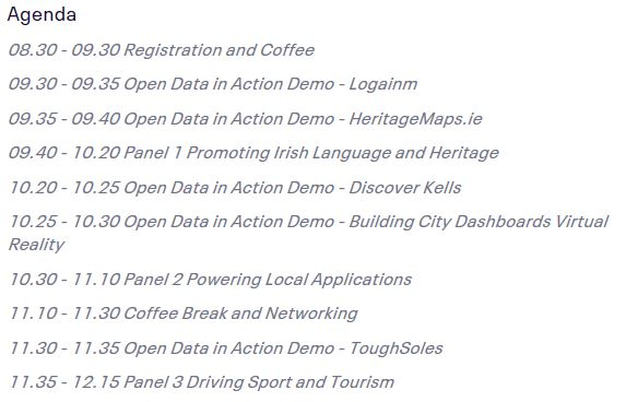 Agenda for Open Data Seminar 23 Oct