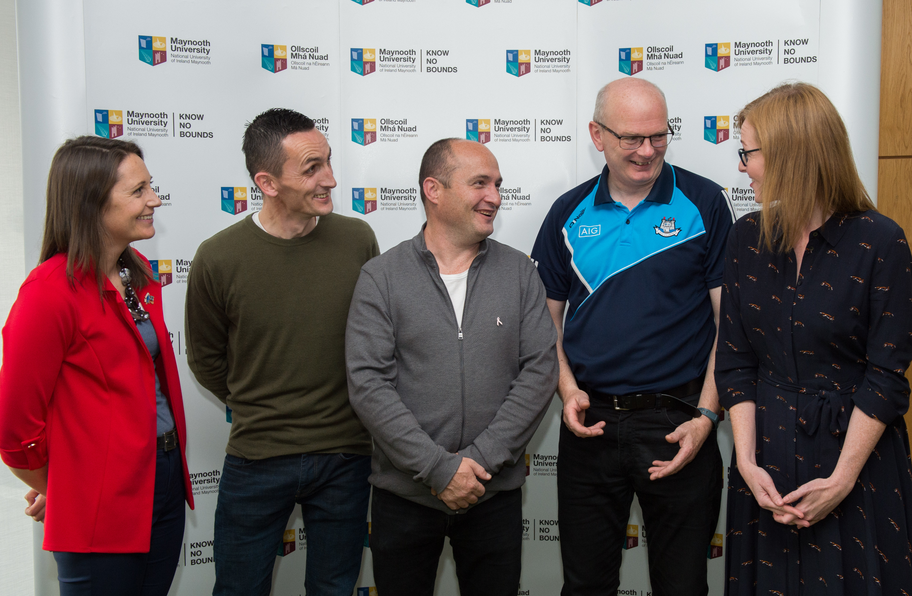Maynooth Vice President for Equality and Diversity, Dr. Gemma Irvine, Post-graduate student, Shean Delaney, Niall Walsh, Head Teacher, Pathways Centre, Chief Prison Officer Mark Byrne, and Maynooth University Access Programme Manager, Grace Edge.