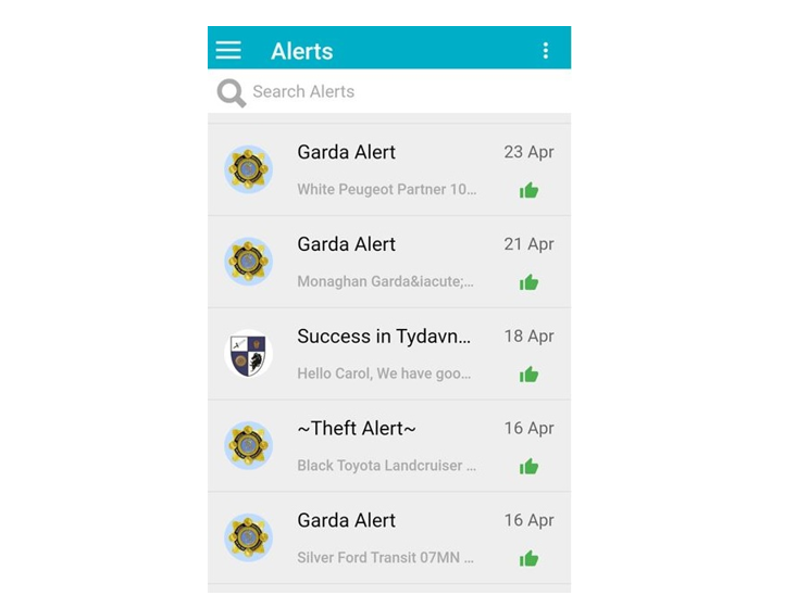 Screenshot of Monaghan Community Alerts App