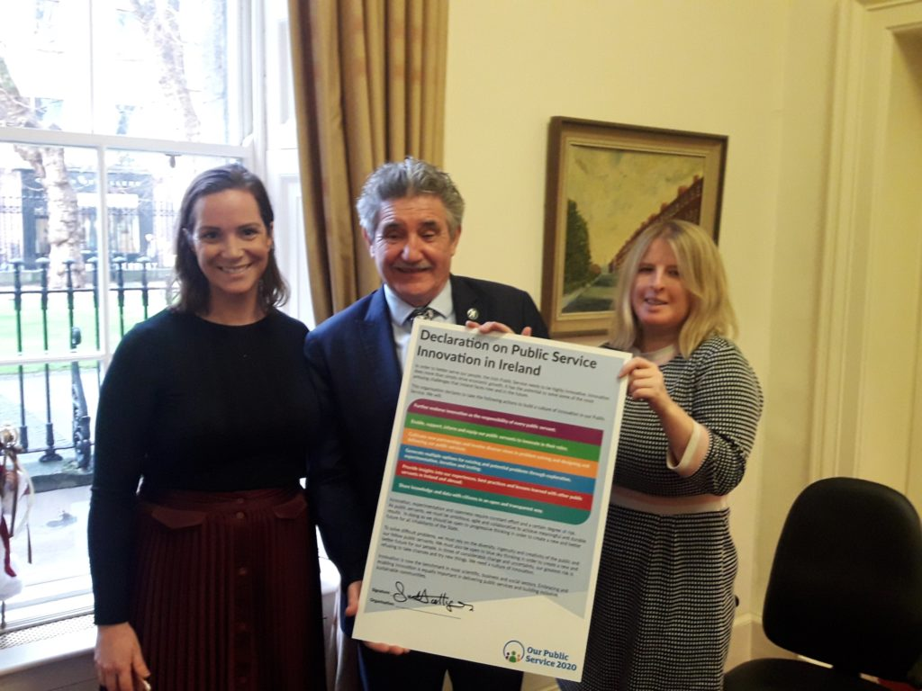 Minister John Halligan with the signed Declaration on Public Service Innovation in Ireland