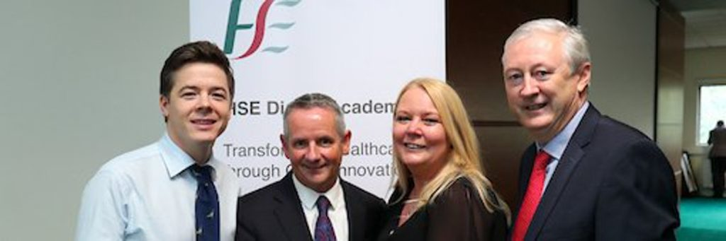Ross Cullen, Lorraine Smyth and Prof. Martin Curley (Digital Transformation Unit) with Paul Reid (CEO HSE)