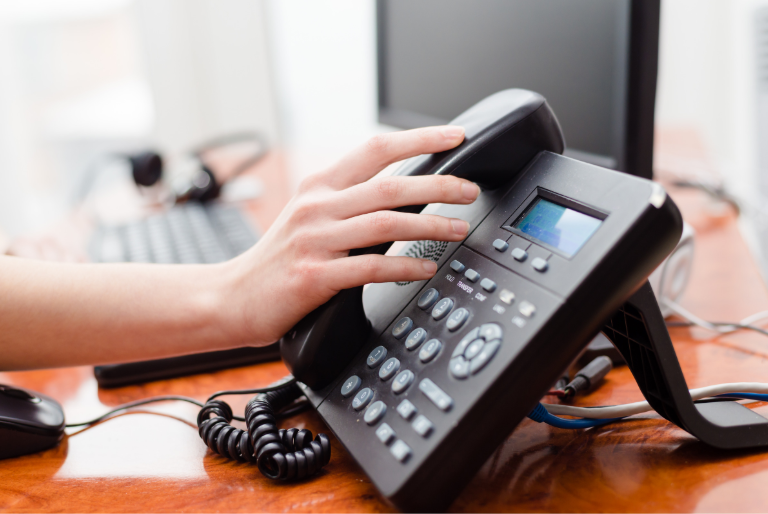 Image of a work phone on a desk