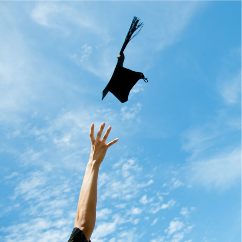 Graduate throwing graduation hat in the air