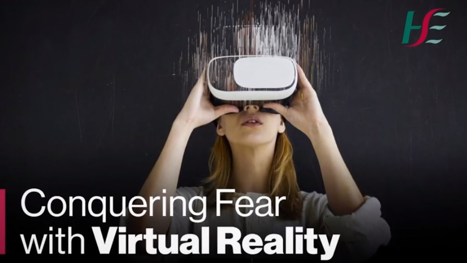Teenager with VR headset. Caption: Conquering Fear with Virtual Reality