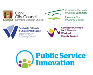 Logos of the local authorities in Cork City, Limerick, Waterford and Wexford along with the OPS 2020 logo