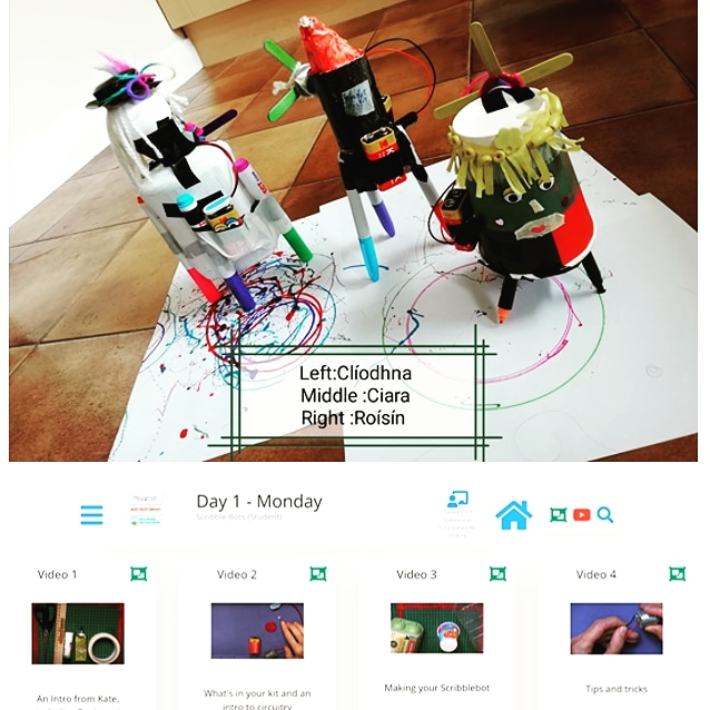 image of small robots created during a STEAM workshop